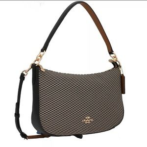 New COACH Black Gold Legacy Chelsea Leather Purse